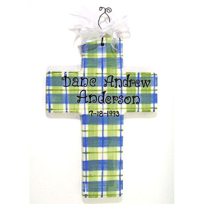 Personalized Cross - Blue/Green Plaid