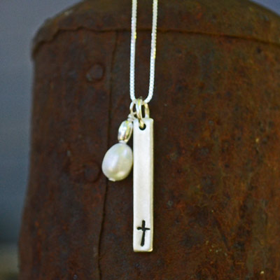 "Cross Bar Necklace with Pearl on 18"" Sterling Box Chain"