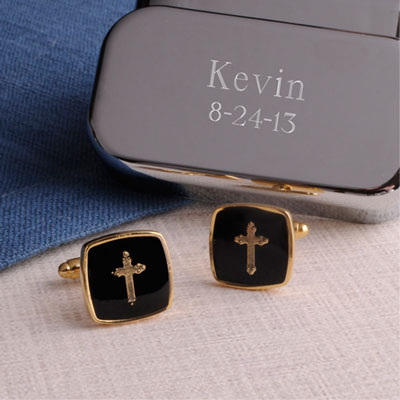 Black & Gold Cross Cufflinks with Personalized Case