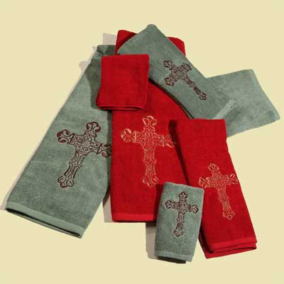 Embroidered Cross Towel Set - Turquoise and Red