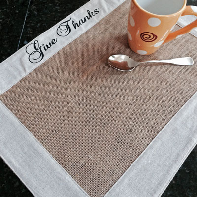 Burlap Placemat with Linen Trim - Give Thanks