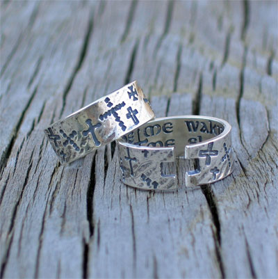 Guide Me Waking; Guard Me Sleeping Sterling Silver Cuff Ring
