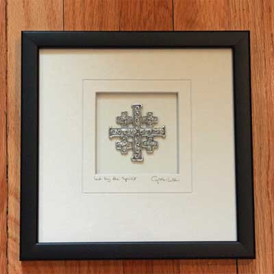 Cynthia Webb Framed Pewter Ornament - Jerusalem Cross