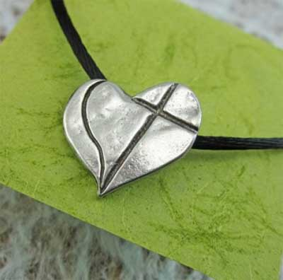"Love Cross Pewter Pendant on 24"" Satin Cord"