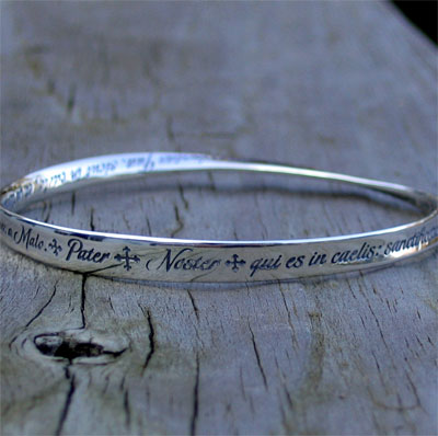 Pater Noster - The Lords Prayer in Latin - Mobius Bracelet