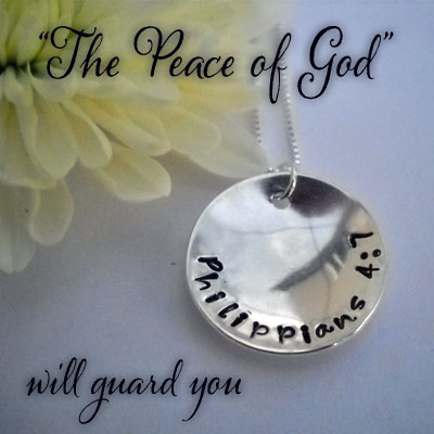 PEACE Philippians 4:7 Sterling Silver Necklace