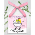 Personalized Baby Buggy Ornament for Girl