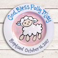Personalized Baptism Plate for Girl - God Bless… Sheep - 10""