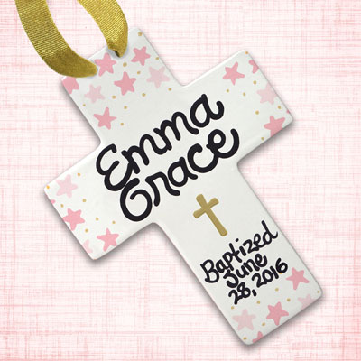 Personalized Pink Star and Gold Baby Baptism Wall Cross - 10""