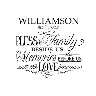Light Box Personalized Insert - Bless the Family