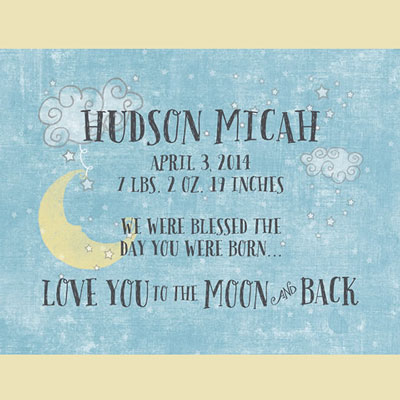 Light Box Personalized Insert - Blue Love You To The Moon