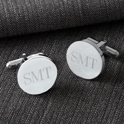 Classic Round Cuff Links with Initials