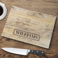 Personalized Glass Cutting Board - Rustic Wood Look