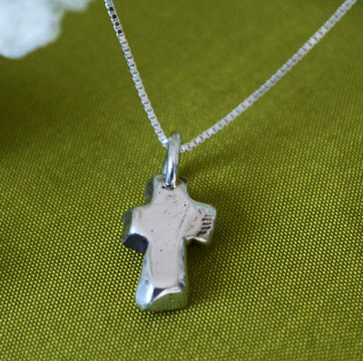 "Cross Necklace in Sterling Silver on 16"" Chain"