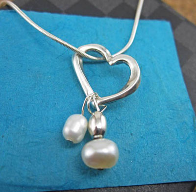 Unending Love Sterling Silver Necklace with Pearls