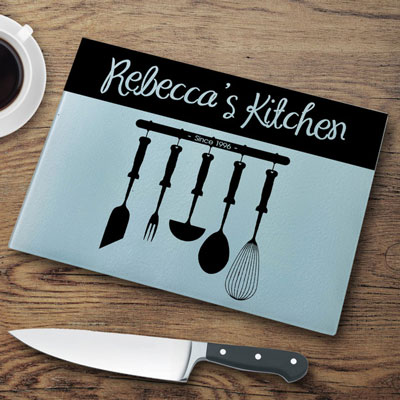 Personalized Glass Cutting Board - Utensils