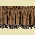 Embroidered Barbwire Valence with Fringe - Dark Tan