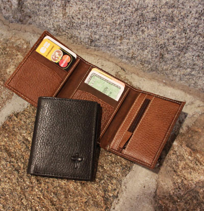 Men's Deluxe Trifold Wallet - Black