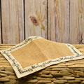 Burlap Placemat with Linen Trim - Merry Christmas