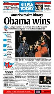 "Commemorative front page 12""x18"" reprint: Obama wins"