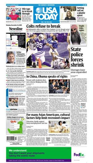 11/16/2009 Issue of USA TODAY