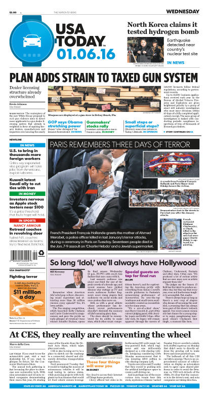 1/06/2016 Issue of USA TODAY