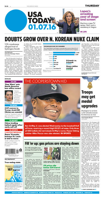 1/07/2016 Issue of USA TODAY