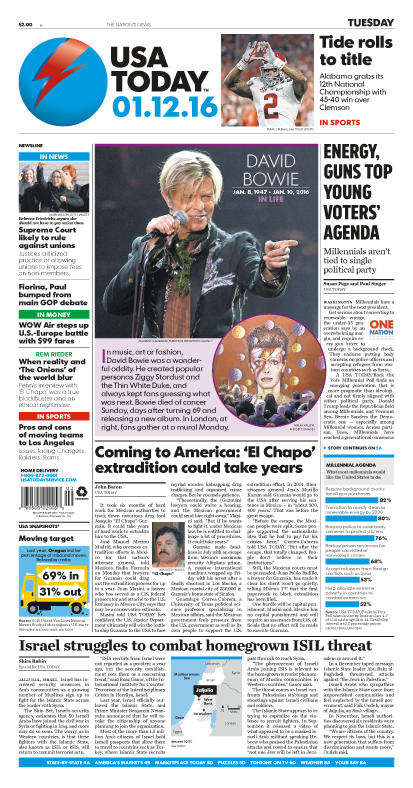 1/12/2016 Issue of USA TODAY