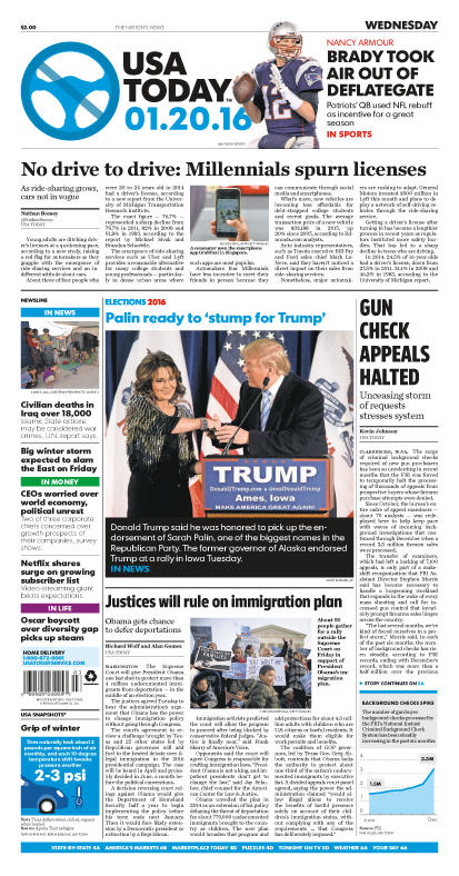 01/20/2016 Issue of USA TODAY