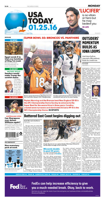 01/25/2016 Issue of USA TODAY