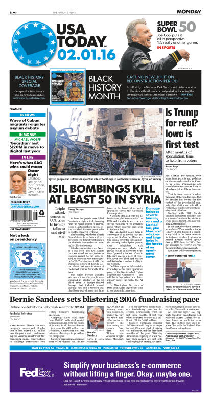 02/01/2016 Issue of USA TODAY