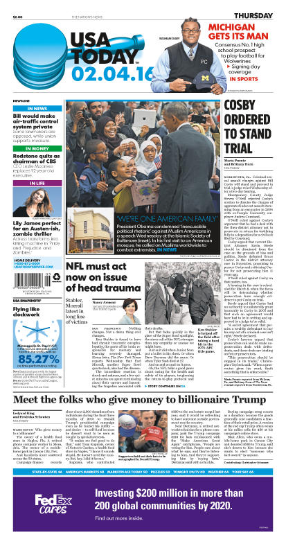 02/04/2016 Issue of USA TODAY