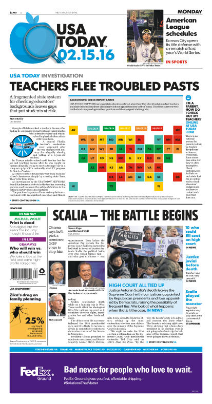 02/15/2016 Issue of USA TODAY
