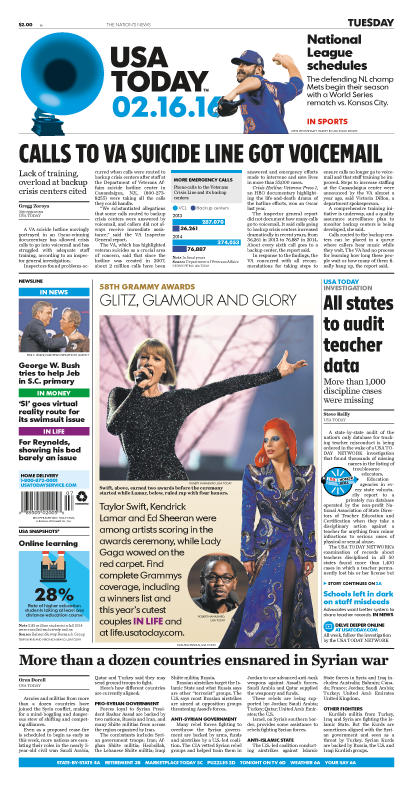02/16/2016 Issue of USA TODAY
