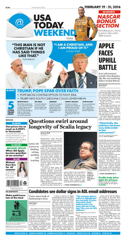 02/19/2016 Issue of USA TODAY