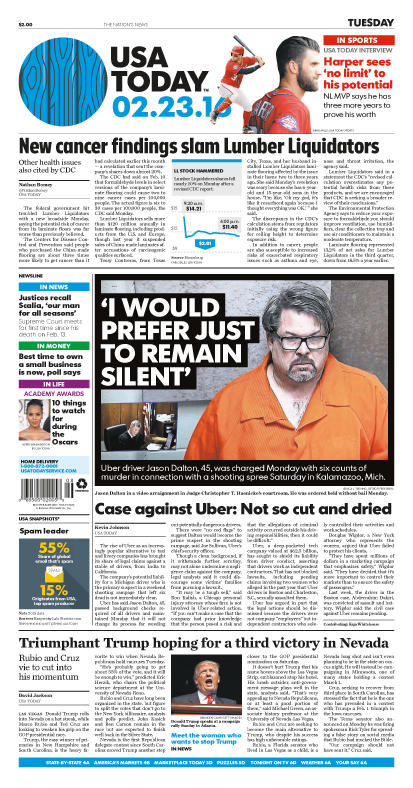 02/23/2016 Issue of USA TODAY