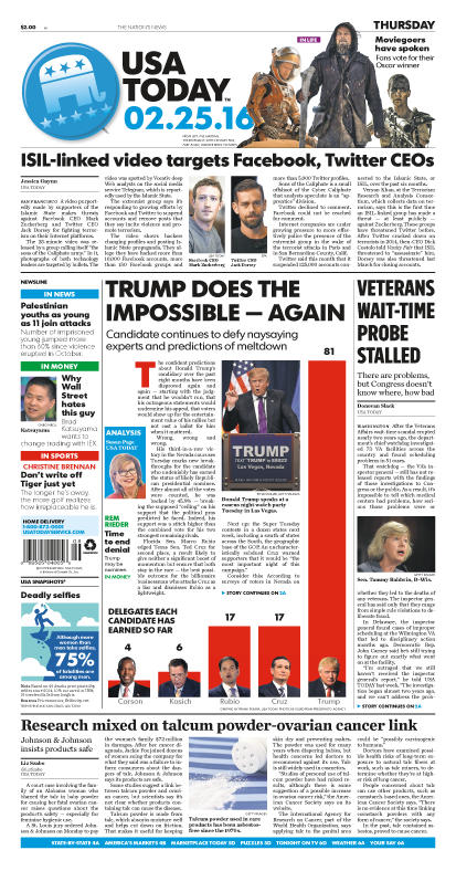 02/25/2016 Issue of USA TODAY