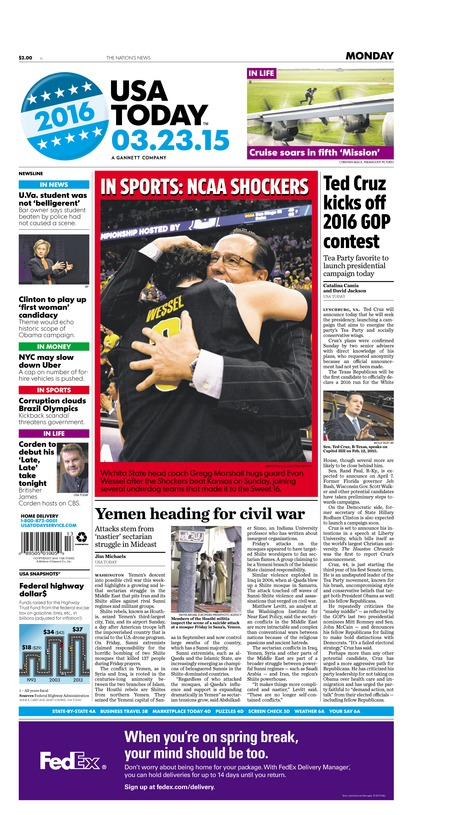 03/23/2015 Issue of USA TODAY