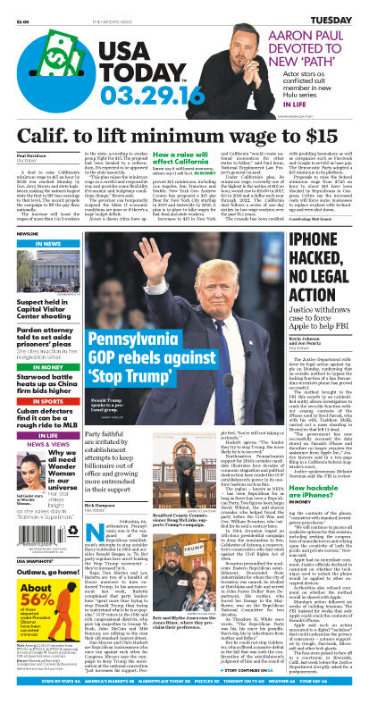 03/29/2016 Issue of USA TODAY