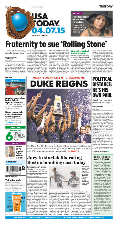 04/07/2015 Issue of USA TODAY