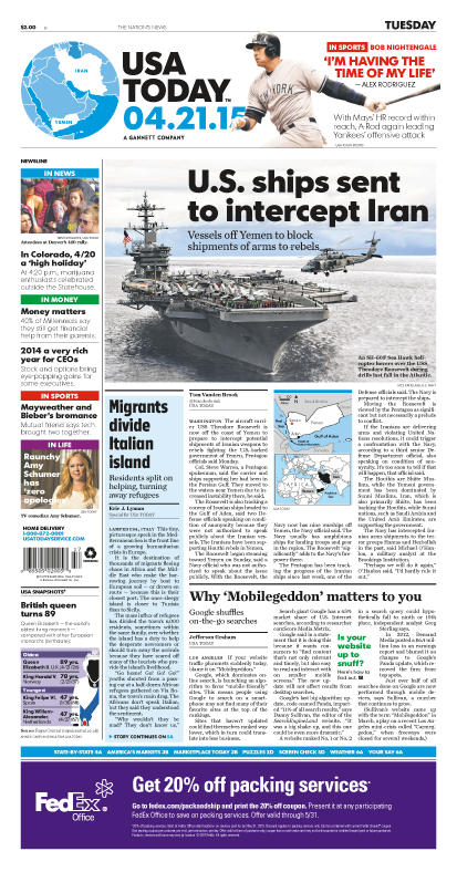 04/21/2015 Issue of USA TODAY