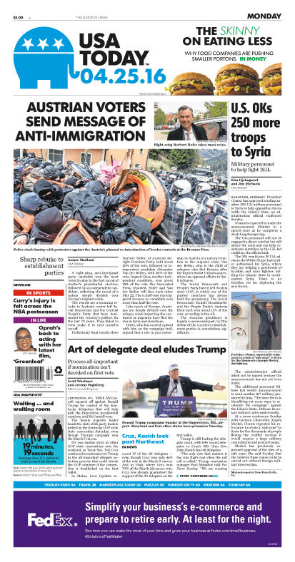 04/25/2016 Issue of USA TODAY