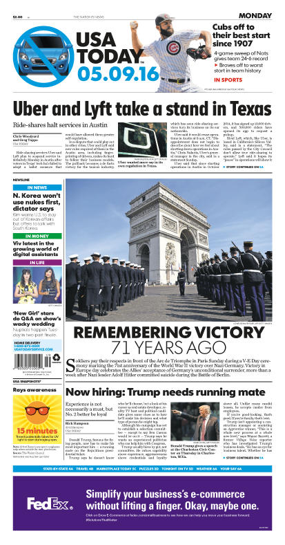 05/09/2016 Issue of USA TODAY