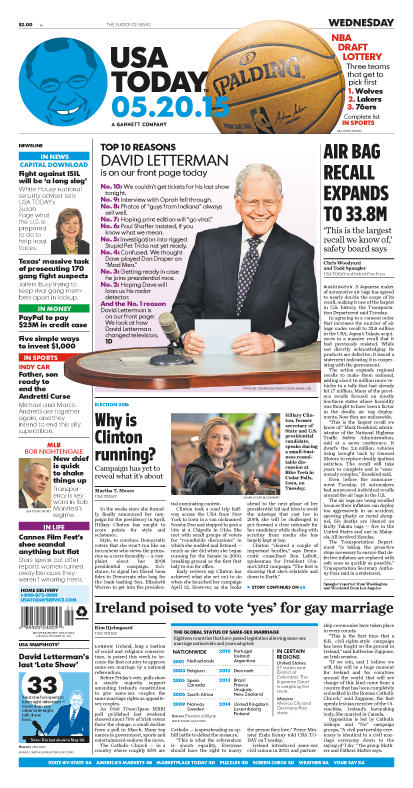 05/20/2015 Issue of USA TODAY