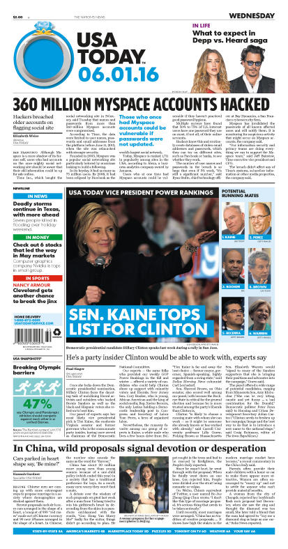 06/01/2016 Issue of USA TODAY
