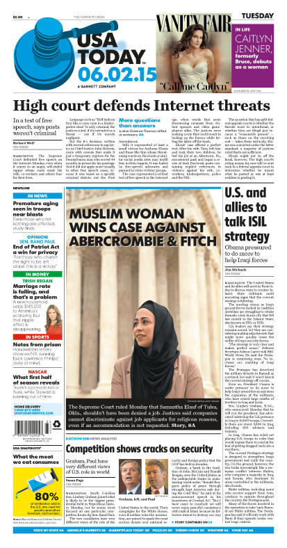 06/02/2015 Issue of USA TODAY