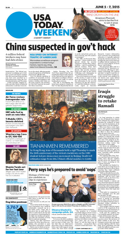 06/05/2015 Issue of USA TODAY