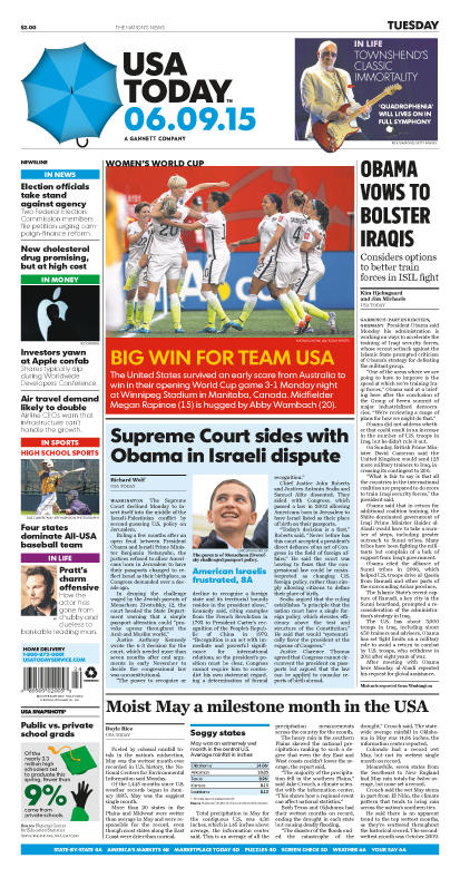 06/09/2015 Issue of USA TODAY