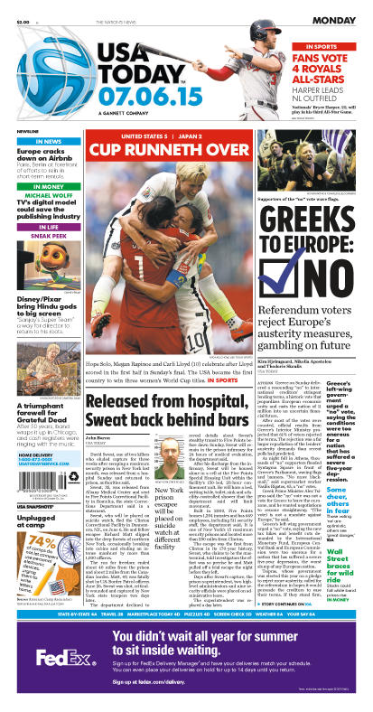 07/06/2015 Issue of USA TODAY