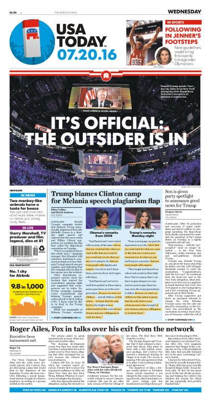 07/20/2016 Issue of USA TODAY